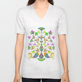 Flowers and Birds Unisex V-Neck