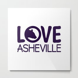 LOVE ASHEVILLE - AVL 13 PURPLE Metal Print