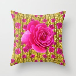 "FUCHSIA PINK ""ROSES & THORNS""  GOLD ART  ROSE  PATTERNS Throw Pillow"