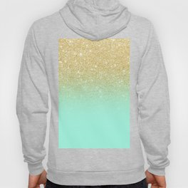 Modern gold ombre mint green block Hoody