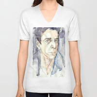 lou reed V-neck T-shirts featuring Lou Reed by Germania Marquez