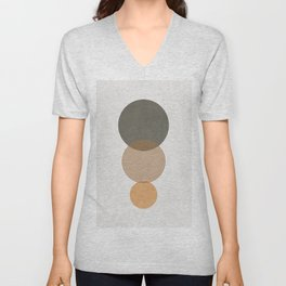 MINIMALIST CIRCULAR SHAPES - GREEN AND BROWN Unisex V-Neck