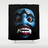 bali Shower Curtains featuring Bali mask by VanessaGF