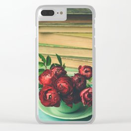 Books and Flowers Clear iPhone Case