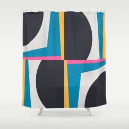 Modern Geometric 65 Blue Shower Curtain