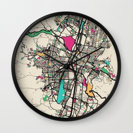 Colorful City Maps: Medellin, Colombia Wall Clock