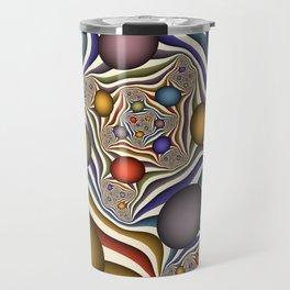 Flying Up, Colorful, Modern, Abstract Fractal Art Travel Mug