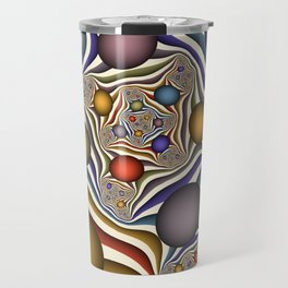 Flying Up, Colorful, Modern, Abstract Fractal Art Travel Mug