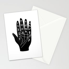 Linocut Hand palm reading minimal black and white palmistry fortune teller Stationery Cards