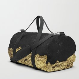 Rough Gold Torn and Black Marble Duffle Bag