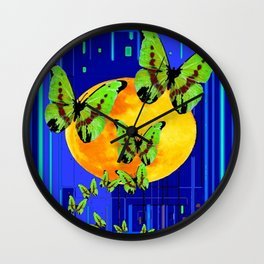 Modern Blue Abstract Full Moon Green Kiwi Butterflies Art Wall Clock
