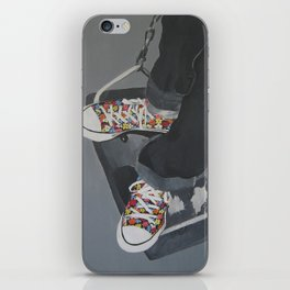 Flowered Converse shoes on a swing iPhone Skin