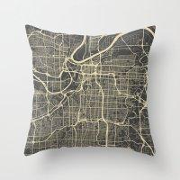 kansas city Throw Pillows featuring Kansas City map by Map Map Maps