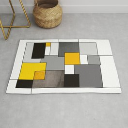 Black Yellow and Gray Geometric Art Rug