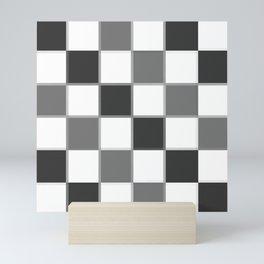 Slate & Gray Checkers / Checkerboard Mini Art Print