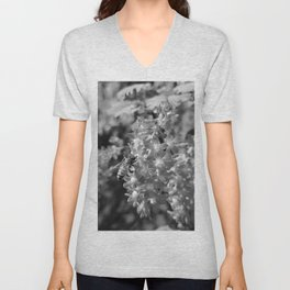 Bee and Blood Currant Ribes Sanguineum bw Unisex V-Neck