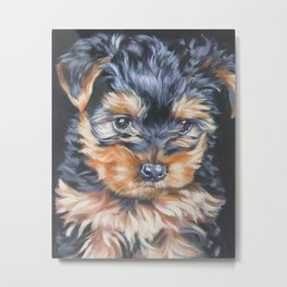 A realistic Yorkshire Terrier puppy Portrait by L.A.Shepard fine art painting Metal Print