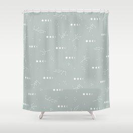 Moon phase boho zodiac sign moss mint green Shower Curtain