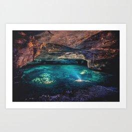 Underground Cave Lake Art Print