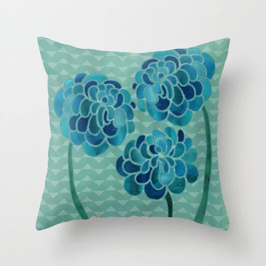 Blue Chrysanthemums Throw Pillow