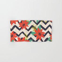 Christmas Poinsettias and Chevron Zigzags Hand & Bath Towel