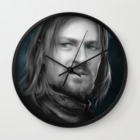 the lord of the rings Wall Clocks featuring Boromir - Lord of the Rings by Caim Thomas