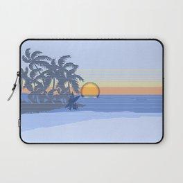 Big Sunset Hawaiian Surfer Striped Scenic Laptop Sleeve