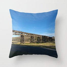 old railway bridge crossing Murrumbidgee River Gundagai New South Wales. Throw Pillow
