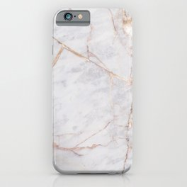 White Italian Marble & Gold iPhone Case