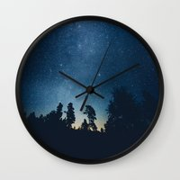 stars Wall Clocks featuring Follow the stars by HappyMelvin