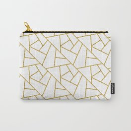 Gold and White Abstract Geometric Glitter Pattern Carry-All Pouch