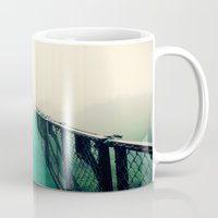 bridge Mugs featuring suspension bridge by Sookie Endo
