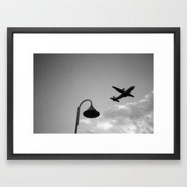 Plane arriving at Madeira Framed Art Print