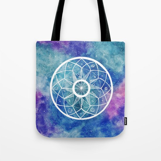 Watercolour Cosmic Mandala Tote Bag