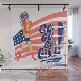 Hot blonde cheerleader girl with a pompom Wall Mural