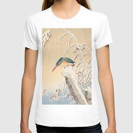 Kingfisher stalking fish - Japanese vintage woodblock print T-shirt