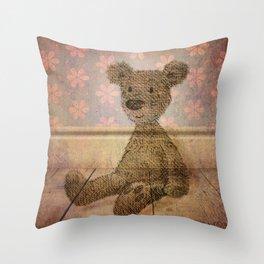 Barely Bear - A Vintage Teddy Throw Pillow