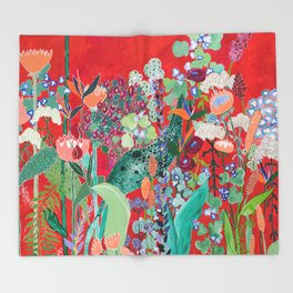 Floral Jungle on Red with Proteas, Eucalyptus and Birds of Paradise Throw Blanket