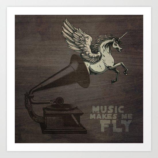Music makes me fly Art Print