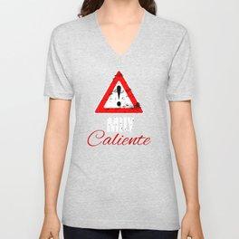 Womens Warning Muy Caliente Gift Unisex V-Neck
