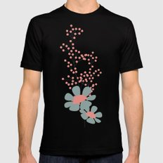 Seamless pattern design with hand drawn flowers and floral elements Black Mens Fitted Tee MEDIUM