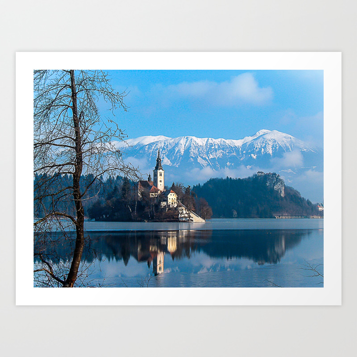 Lake Bled Slovenia In The Winter Art Print