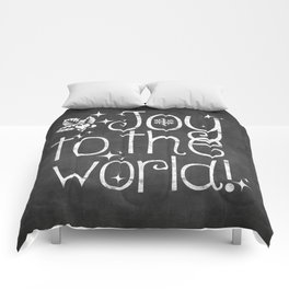 Joy to the world chalkboard christmas lettering Comforters