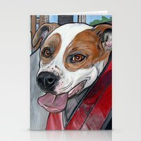pit bull Stationery Cards featuring Pit Bull Joy Ride by WOOF Factory