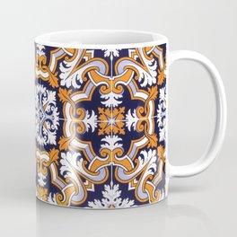 Portuguese Tiles Azulejos Blue Orange Pattern Coffee Mug