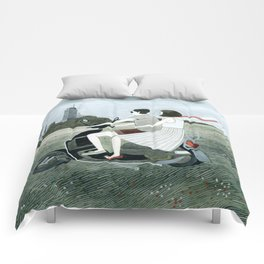Couple On Scooter Comforters