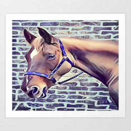 Brown Horse with Harness Art Print