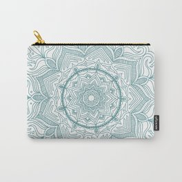 Teal Flower Mandala Carry-All Pouch