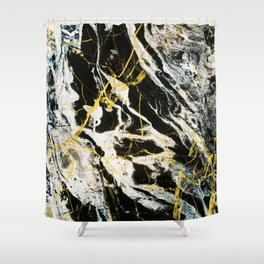 Gold And Marble Pattern Shower Curtain