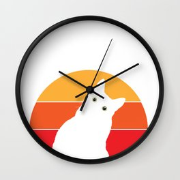 Vintage Retro 80s Curious Cute Cat on Sunset Looking Funny design Wall Clock